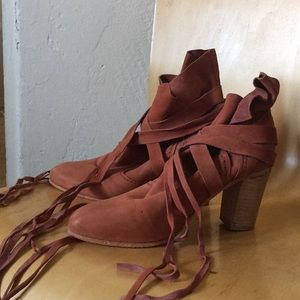 Free people leather wrap bootie NWOT